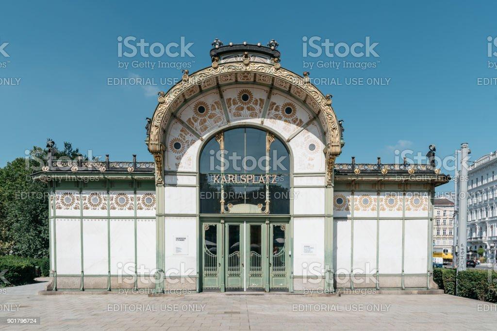 Subway entrance and Art Nouveau pavilion at the Karlsplatz in Vi stock photo