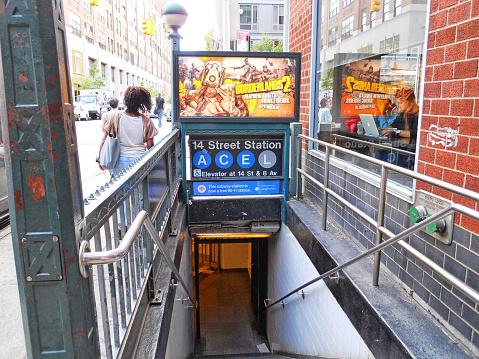 Subway entrance at 14 Street station, New York City