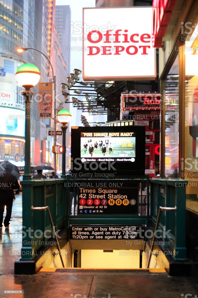 Subway entrance in Times Square in New York City. May 20, in Manhattan, New York City. stock photo