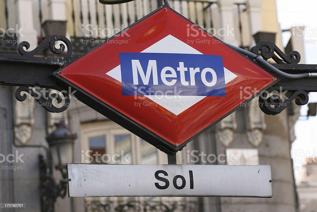 Subway entrance. Metro de Sol. Madrid. royalty-free stock photo