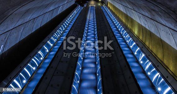 DC Subway escalators by DC Zoo at night