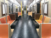 Wide angle shot of a New York city subway