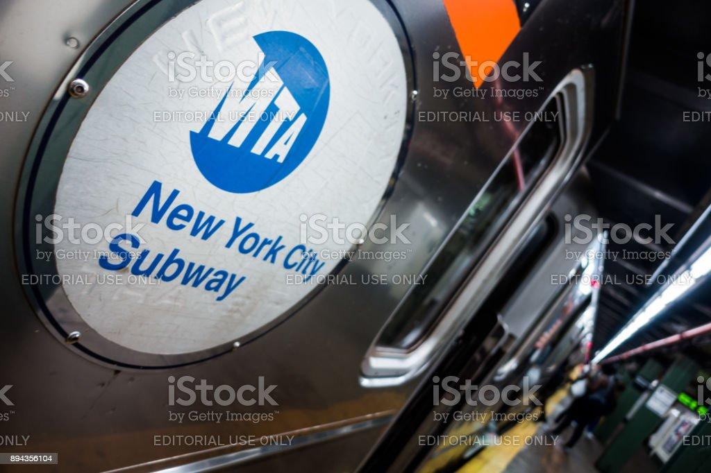Subway metro Logo during afternoon in Manhattan stock photo