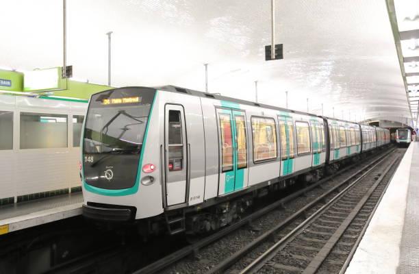 Subway metro train Paris France stock photo