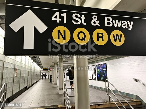 New York City, NY, USA - April 22 2019: Subway sign in an underground subway passage in New York subway system.