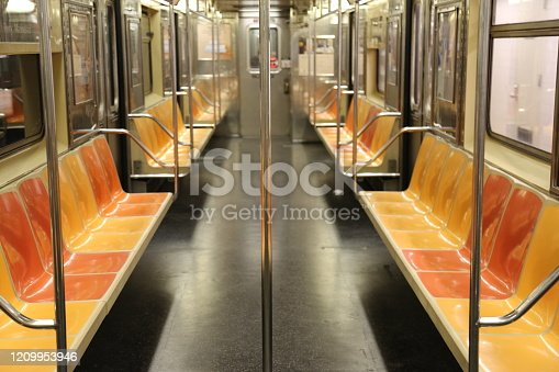 Inside a subway train at the end of the line in New York city in 2019 in may