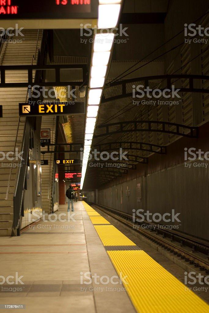 Subway Platform & Exit Sign stock photo