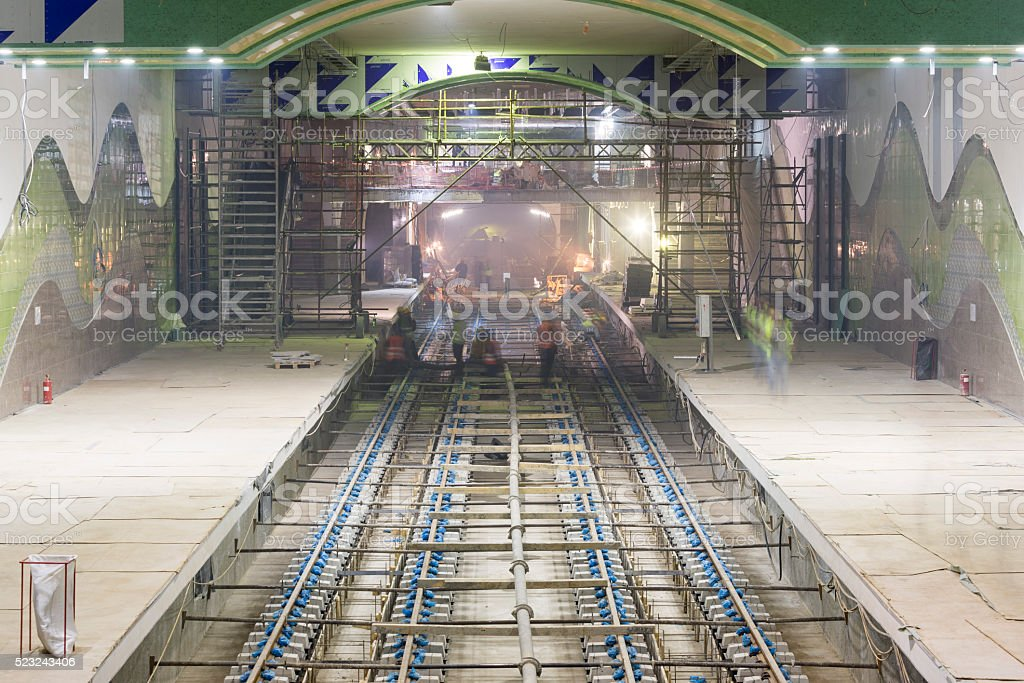 Subway rails during tunnel construction stock photo