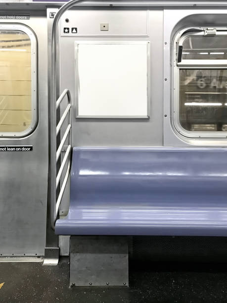 Subway seats and blank billboard Subway seats and blank billboard in New York underground stock pictures, royalty-free photos & images