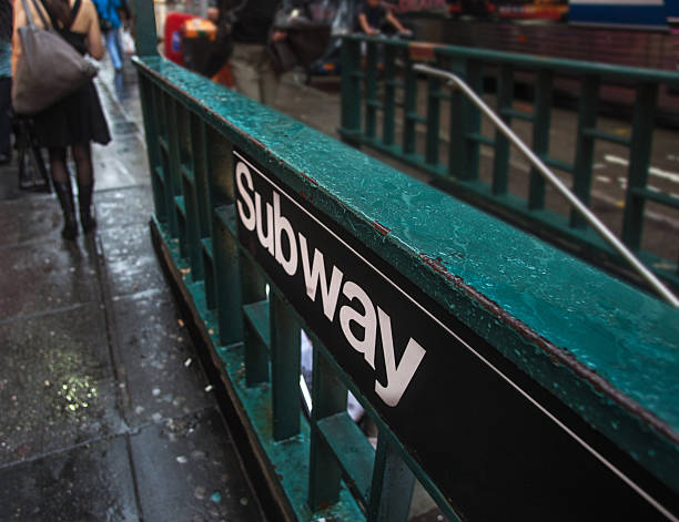 Subway sign and entrance Subway sign and entrance. New York City, USA entrance sign stock pictures, royalty-free photos & images