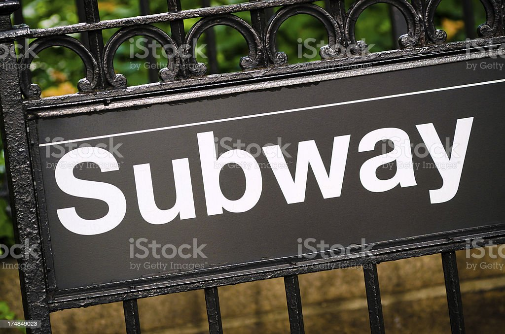 Subway sign at entrance to station in New York City royalty-free stock photo