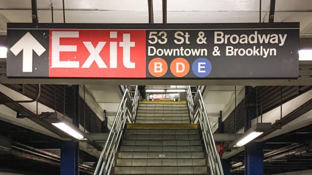 ESTERA de la señal de metro, estación de Avenida 7, Nueva York, Estados Unidos - foto de stock