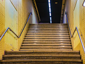 subway stairs in Barcelona city.