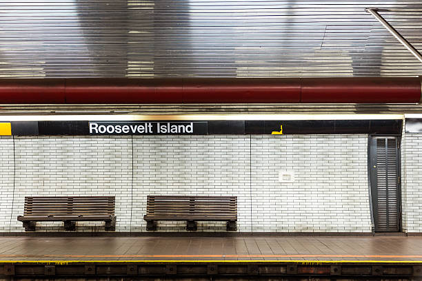 NYC subway station and bench stock photo