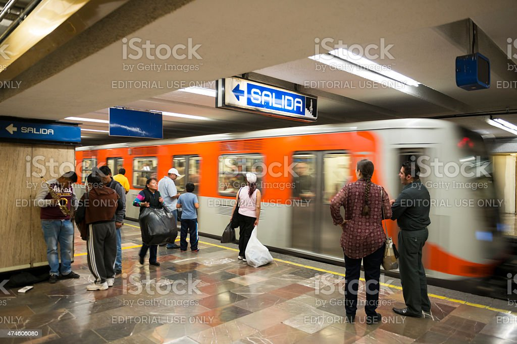 A subway train arrives at the station in Mexico City, Mexico. Several...