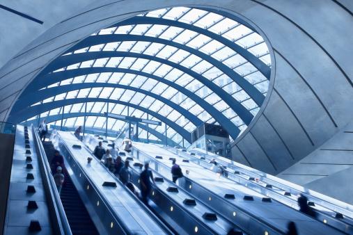 Subway Station Escalators, Canary Wharf, London, England
