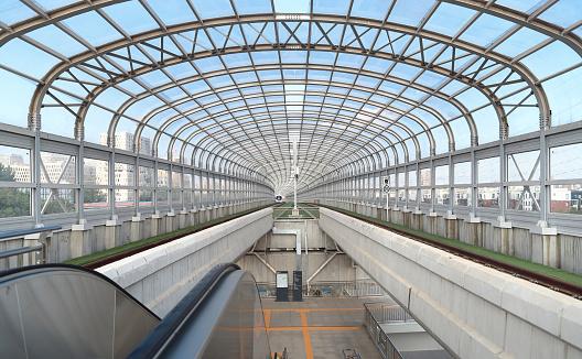 Subway station fast moving train