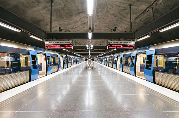 Subway station Hjulsta, Stockholm, Sweden Stockholm subway station Hjulsta subway platform stock pictures, royalty-free photos & images