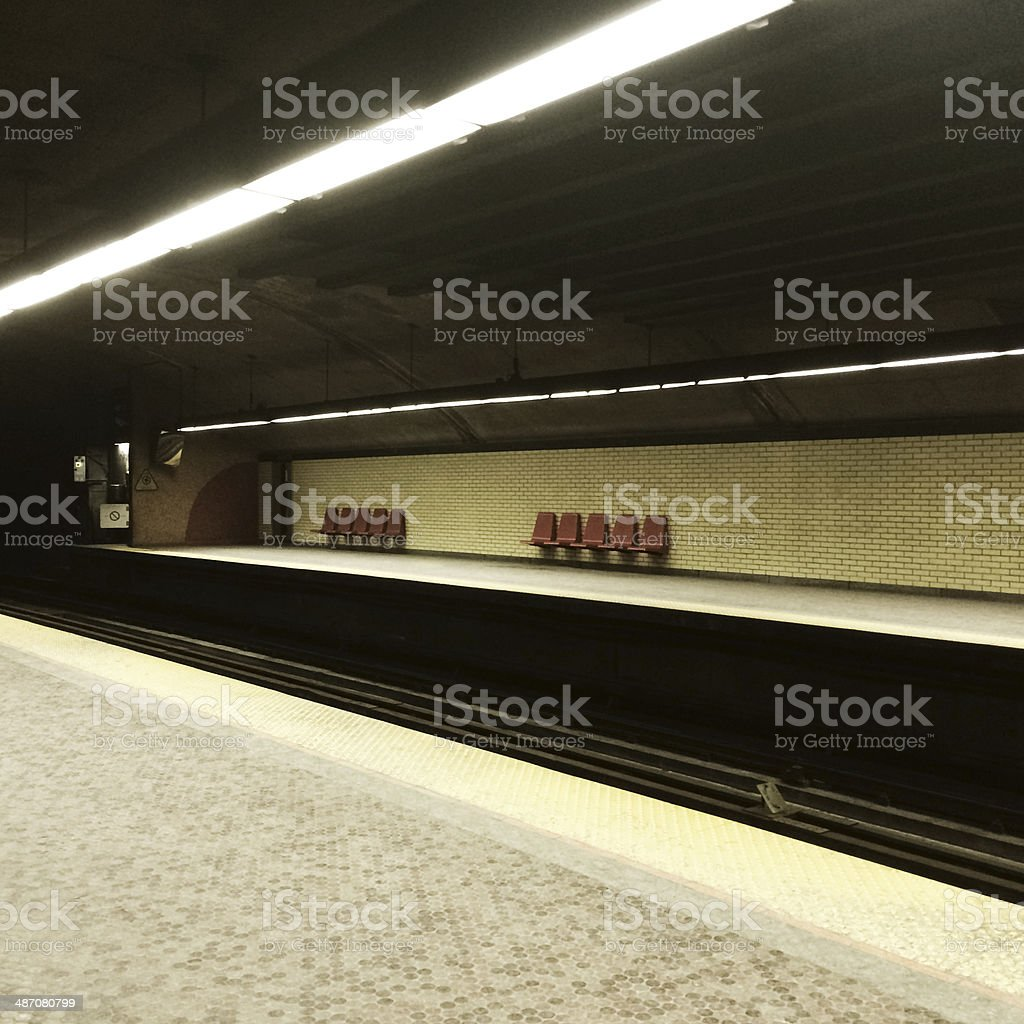 Subway station in Montreal stock photo