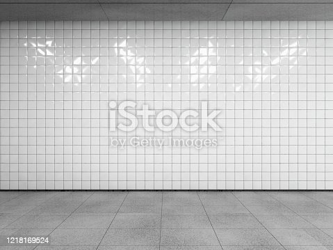 Abstract urban space, empty white tiled wall with concrete floor and ceiling. Side view with copy space to your advertision. Mock up. 3d render.
