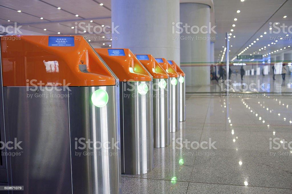Subway station recount machine stock photo