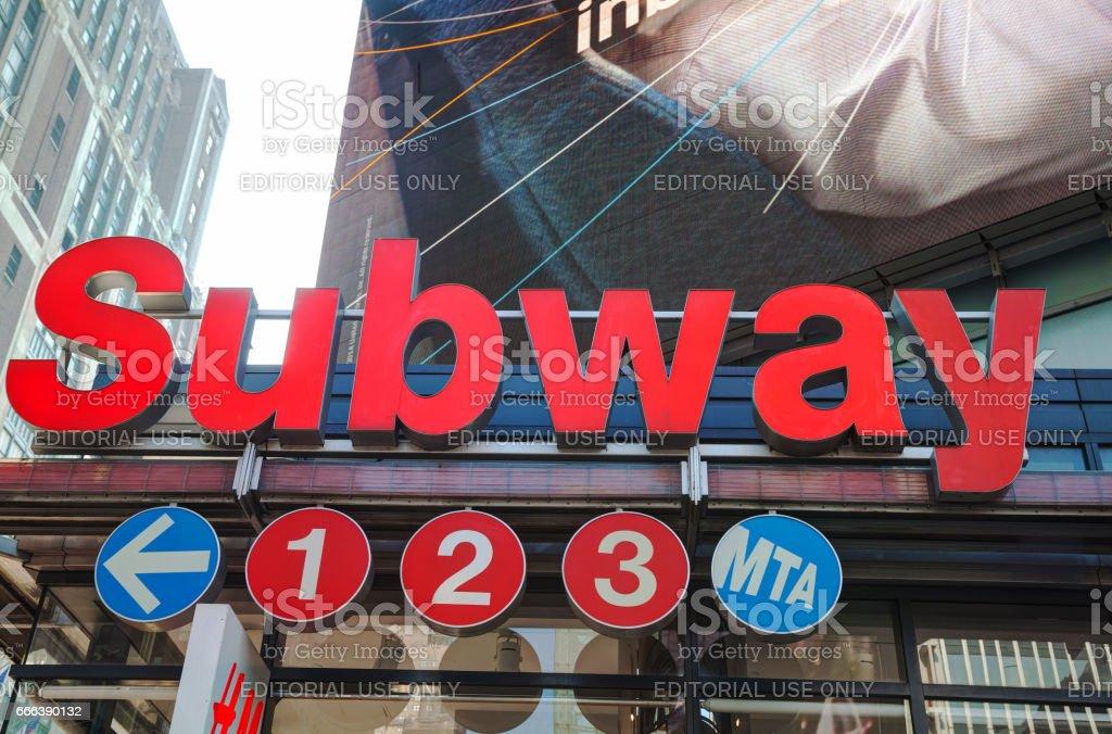 Subway station sign stock photo
