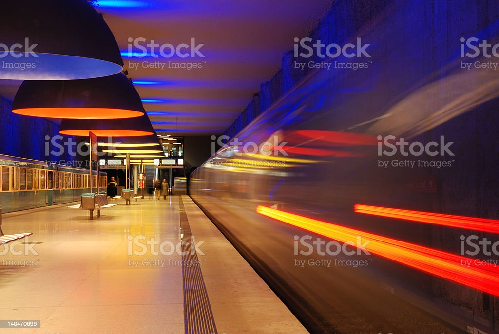 subway station with moving train and motion blur stock photo