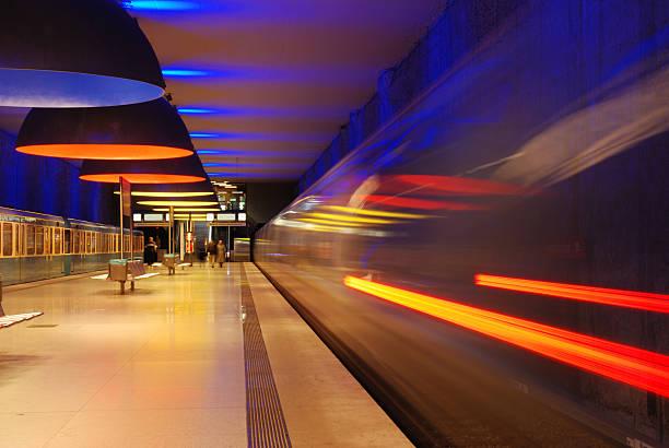 subway station with moving train and motion blur - munich train station bildbanksfoton och bilder