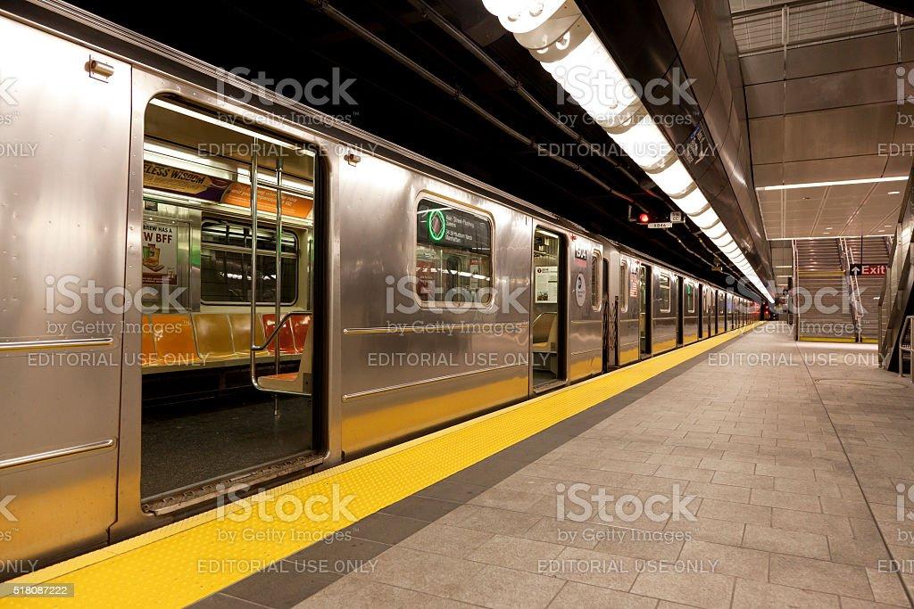 Subway stops at 34 street Hudson Yard station stock photo