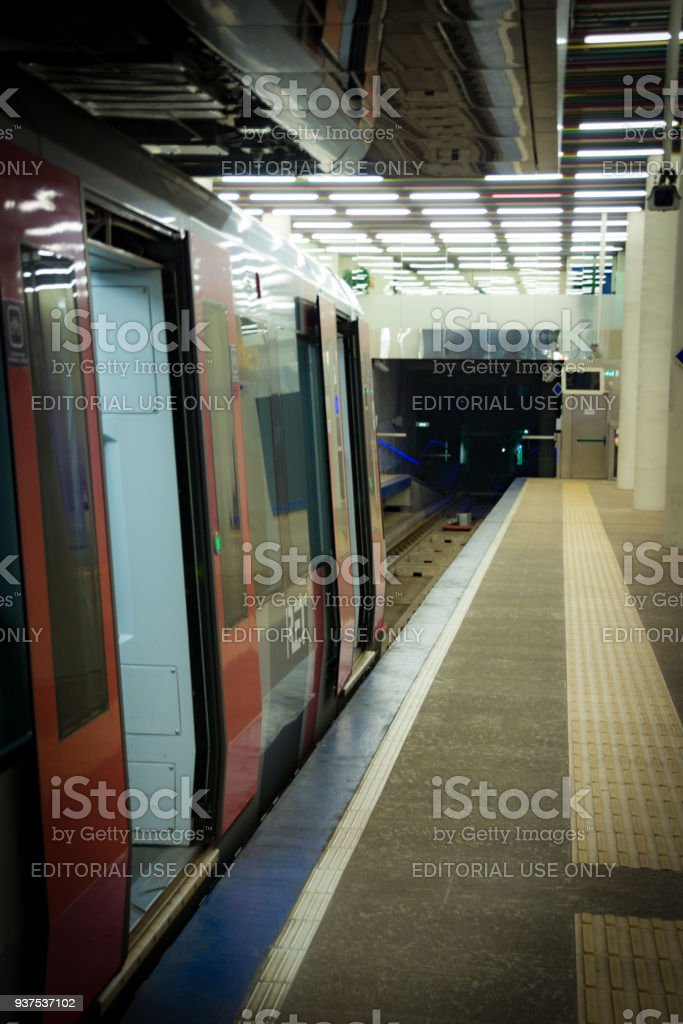 Subway stops at Rotterdam Central Station stock photo