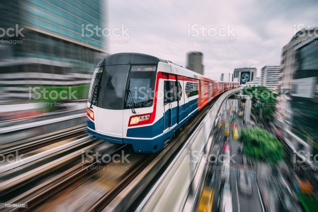 Subway track through the city of Bangkok stock photo