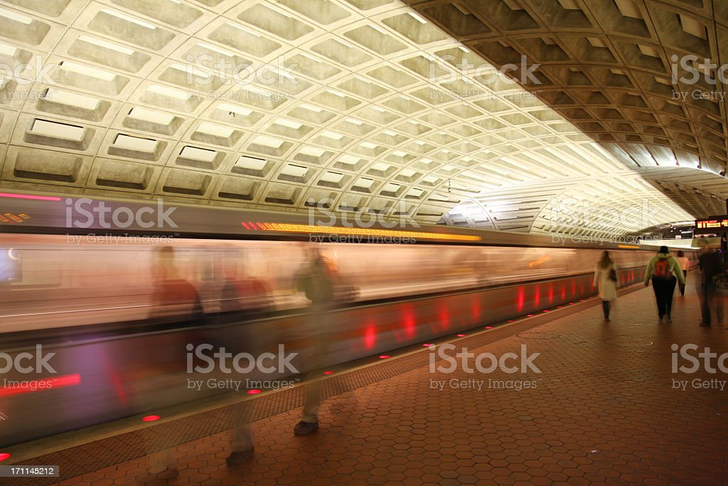 A subway train arriving or leaving from the platform in DC stock photo