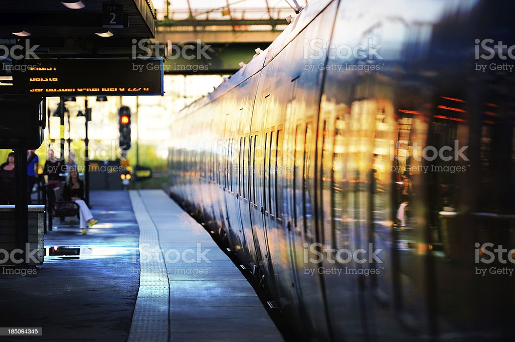Subway train arriving to outdoor station royalty-free stock photo