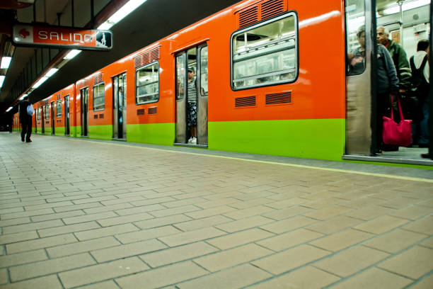 Subway train at Mexico city stock photo