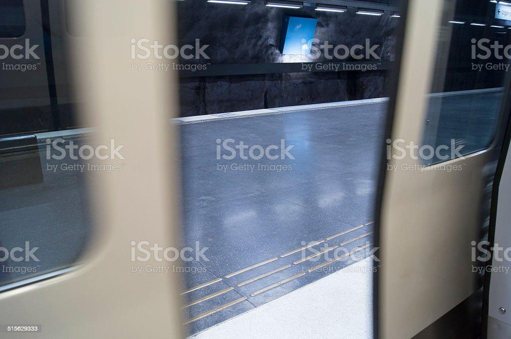 Subway train doors closing stock photo