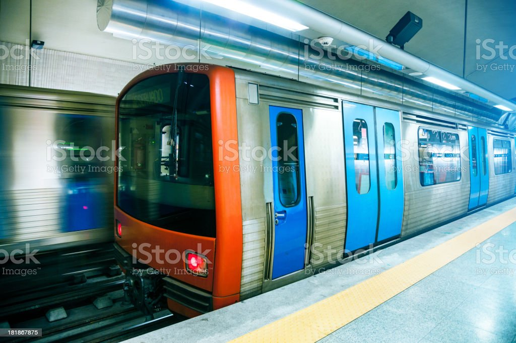 Subway train in Lisbon - Portugal royalty-free stock photo