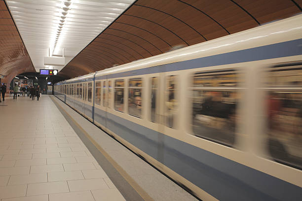 Subway train in motion. stock photo