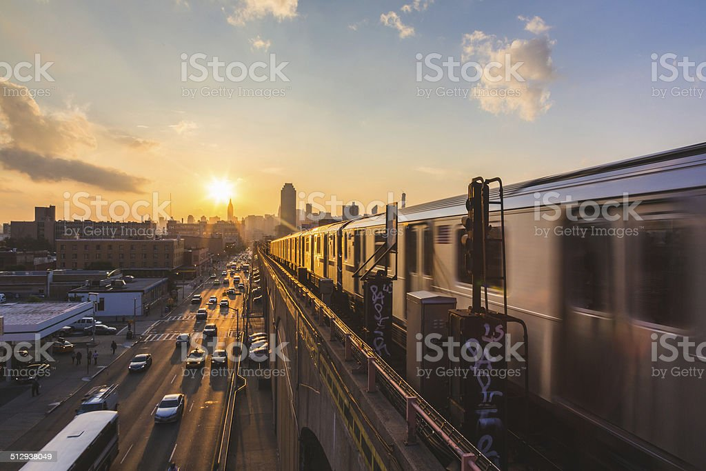 Subway Train in New York at Sunset stock photo