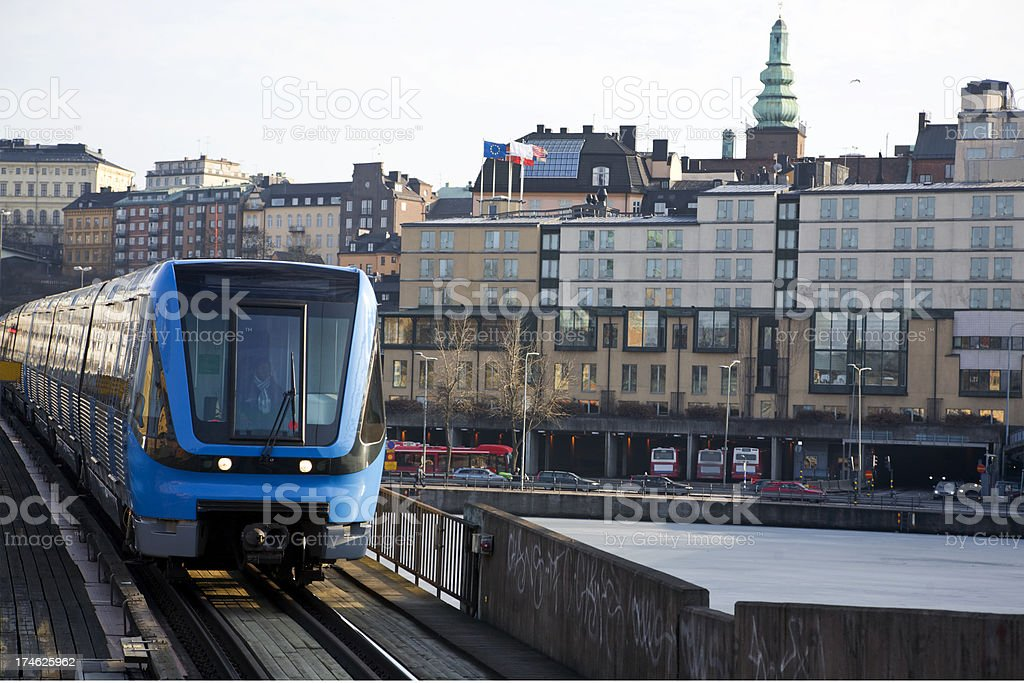 Subway train in Stockholm. royalty-free stock photo