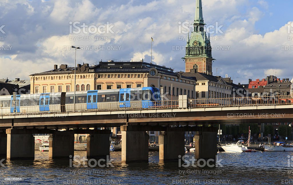 Subway train in Stockholm stock photo
