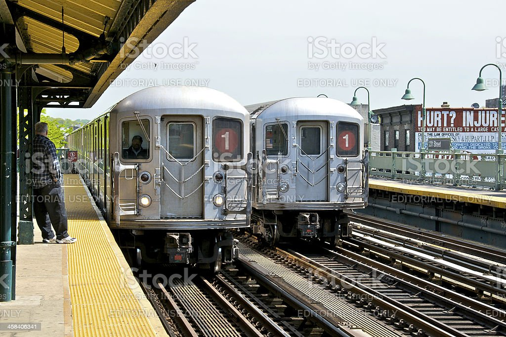 NYC Subway train, No.1 elevated line approaches station, The Bronx royalty-free stock photo