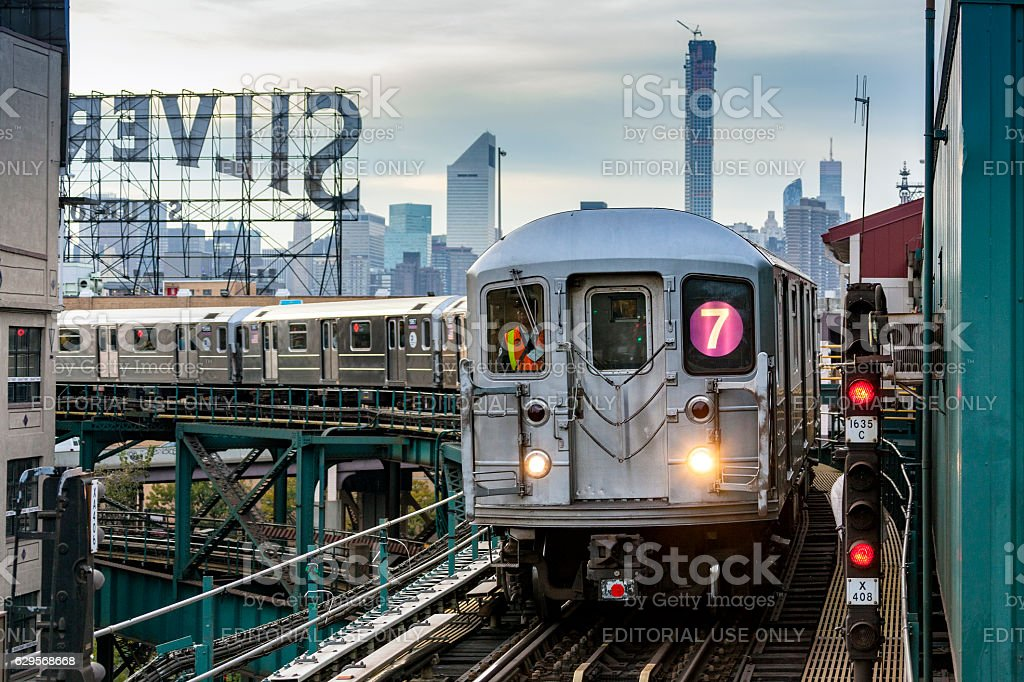 MTA subway train on Line 7 in Queens, NYC stock photo