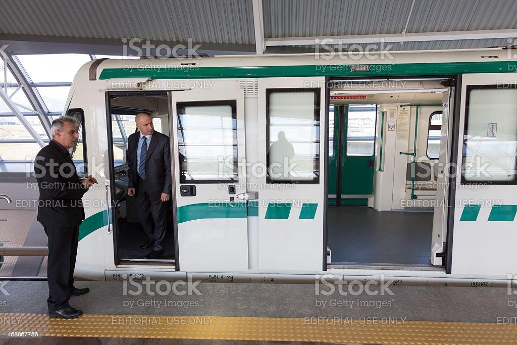 Subway train operator driver stock photo