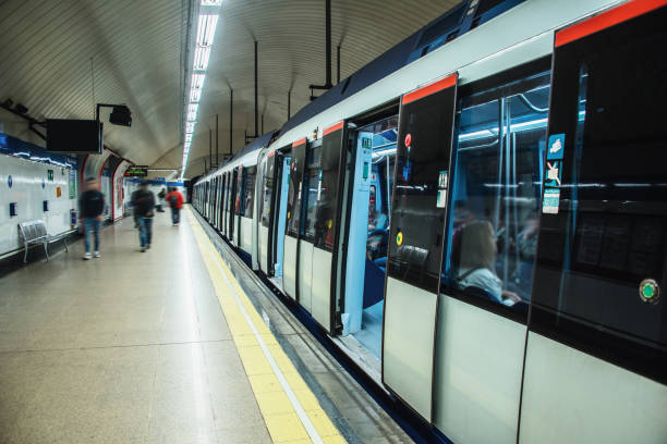 Subway train with open doors at station stock photo