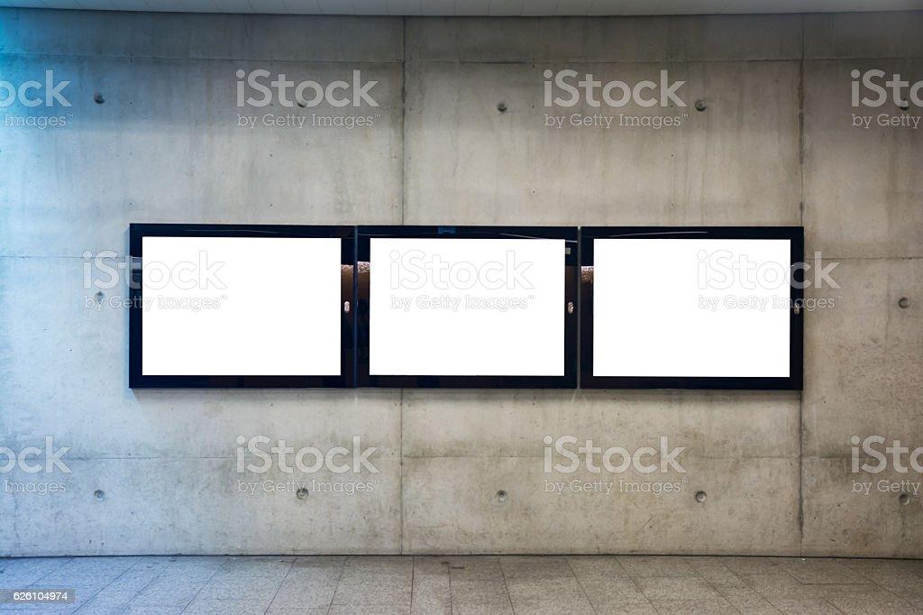 Subway Underground Interior Blank Isolated Clipping Path Adverti stock photo