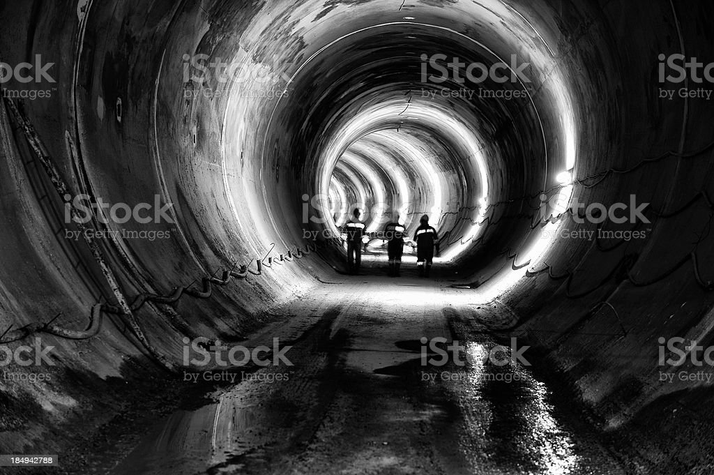 Subway, underground tunnel construction stock photo