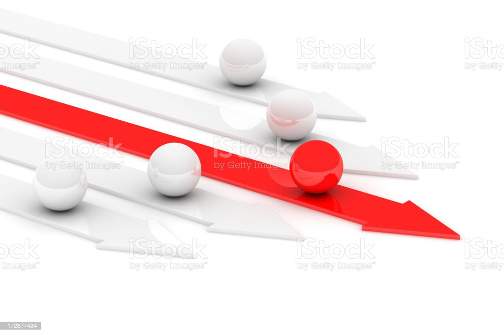 Succeed red arrow coming first royalty-free stock photo