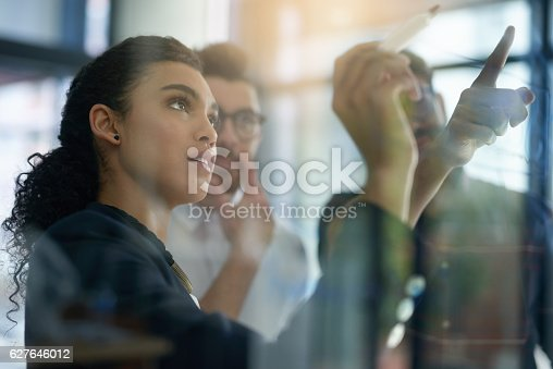Shot of a group of colleagues brainstorming together on a glass wall in an office