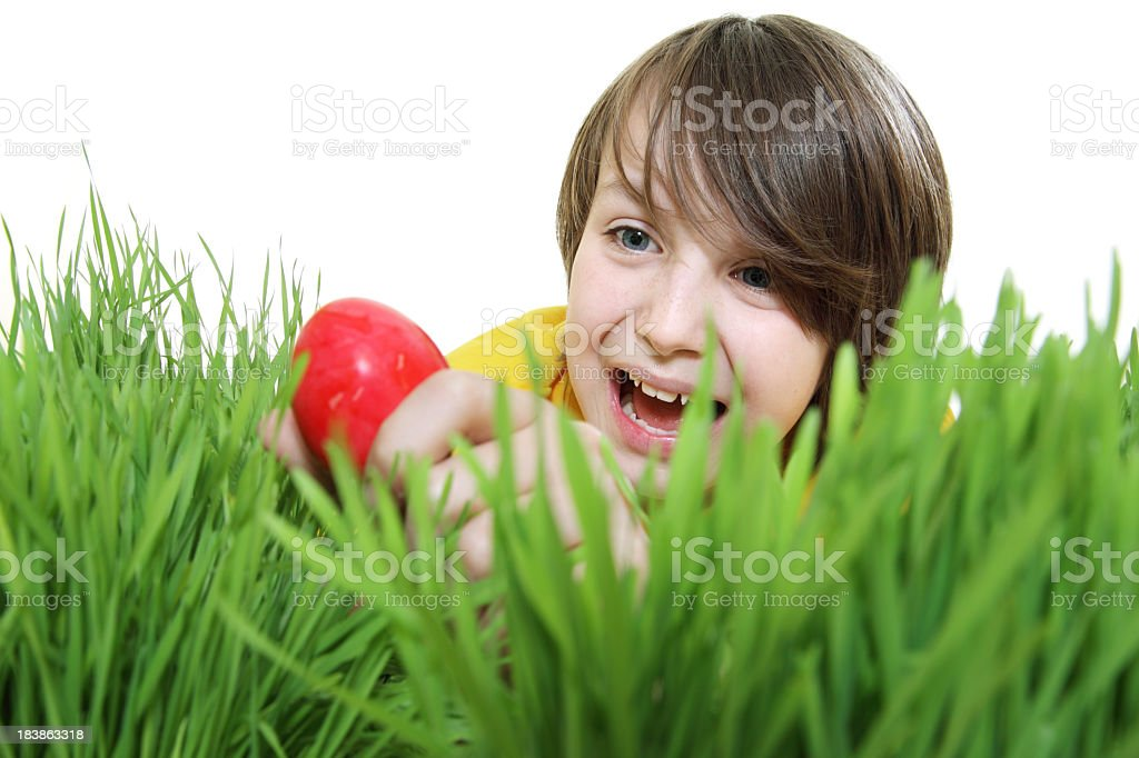 Succesful Easter Egg Hunt royalty-free stock photo