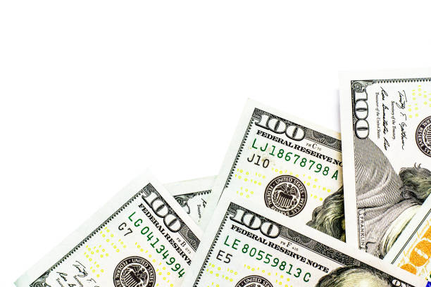 success and got profit from business with hundred us dollars banknote on white background - cash stock photos and pictures